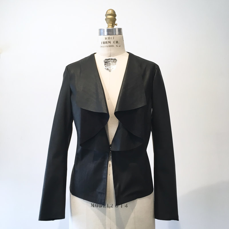 01308e74 3553 Size XS - Zara- Faux leather waterfall jacket - Black